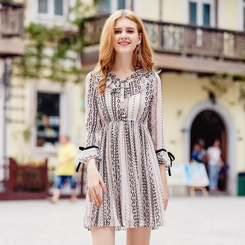ac106cd0b ... Winter New Fashion Brand Dress Women Flare Sleeve Midi Skirt Khaki  Arayle Striped 3/4 Sleeve Chiffon Ruffle Sailor Collar Dress Designer  Dresses Shirt ...