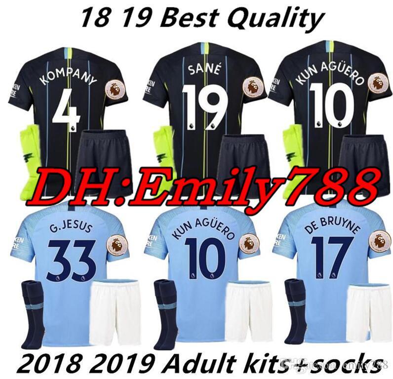 new styles d0dd8 39e7e 18 19 sane soccer Jersey 2018 2019 Man City Adult Jerseys Shorts Socks  DZEKO KUN AGUERO KOMPANY TOURE YAYA DE BRUYNE BERNARDO Shirt
