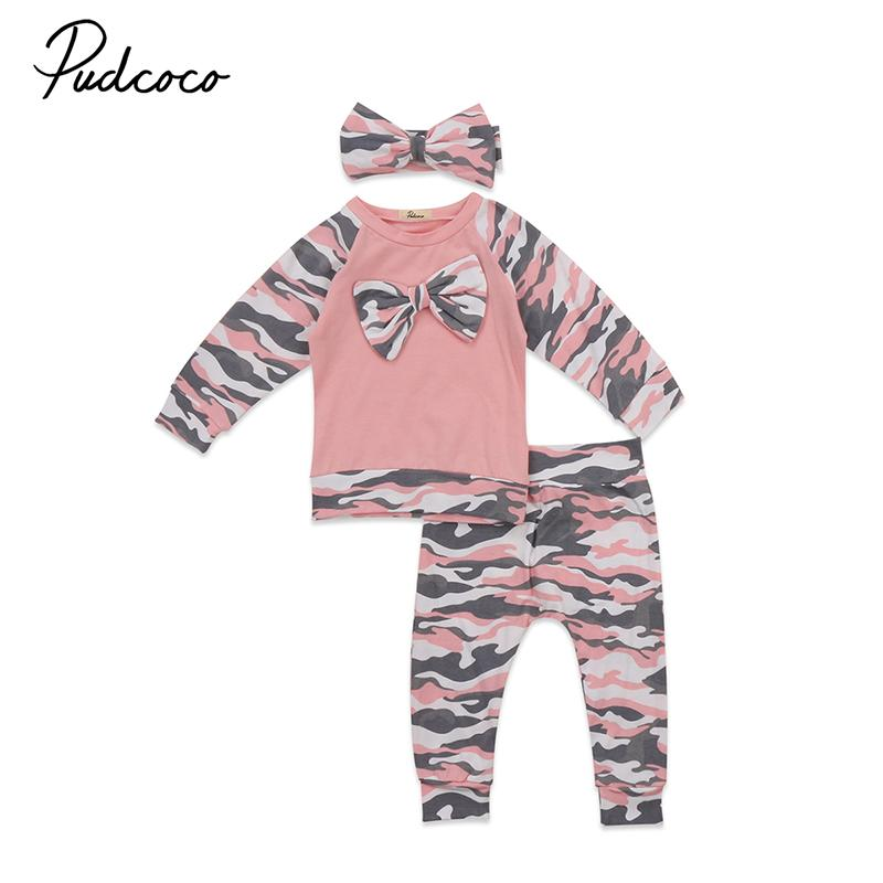 3PCS Cute Newborn Baby Girl Clothing Set Pink Camo Long Sleeve Bow Pullover  Tops Pant Trouser Headband Outfits Children Clothes