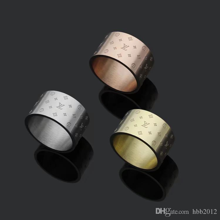 2019 Fashion Popular European and American Jewelry Brand Designer Stainless Steel Tone 12mm wide men women wedding rings