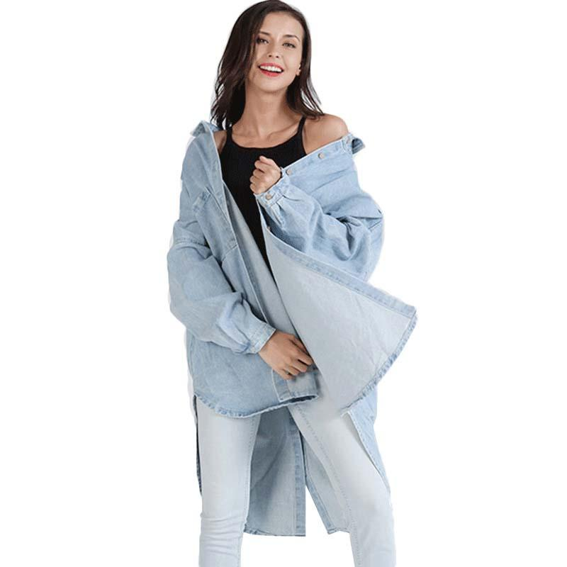 WHZHM Autumn Oversize Loose Coat Women Solid Full Sleeve Jacket Female Pockets Turn-down Collar Casual Denim Long Jeans Coat
