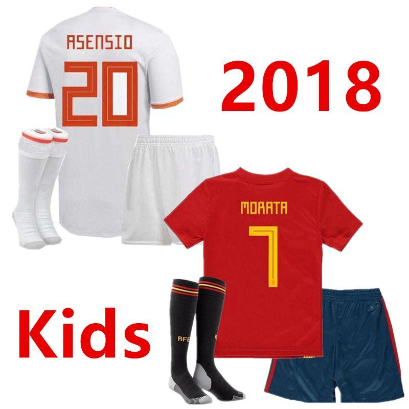 various colors 43f75 35b24 kids Spain soccer Jersey PIQUE A.INIESTA MORATA THIAGO RAMOS ASENSIO  Football Shirt Youth Uniforms boys 2018 World cup camisas de futebol