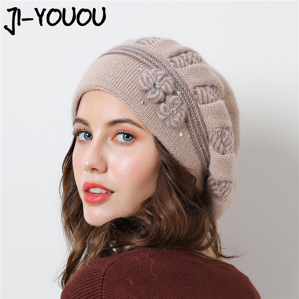2019 Double Layer Design Winter Hats For Women Berets Hat Rabbit Fur Warm Knitted  Hat Big Flower Cap Beanies 2018 New Caps From Bojiban 6e5a3a70d2c