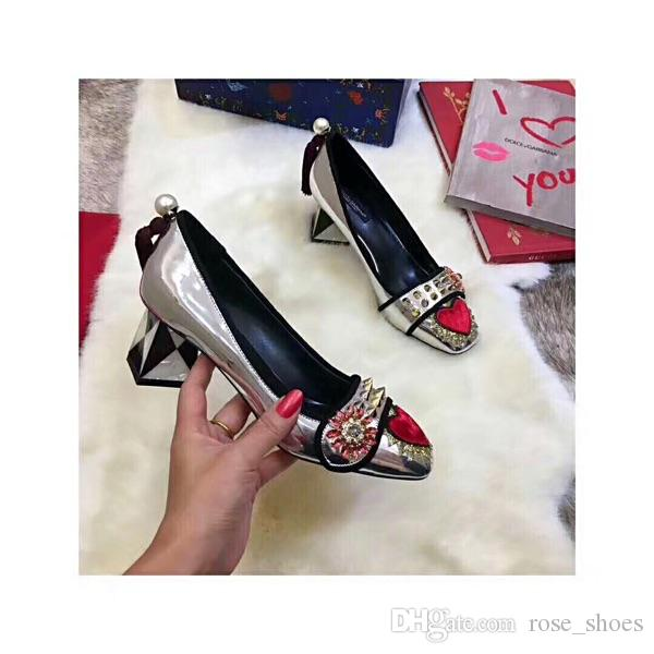 Patent Leather Women Pumps High Heels Square Toe Crystal Embellished Rivets Shoes Chic Lady Party Runway Funky Sapato Feminino