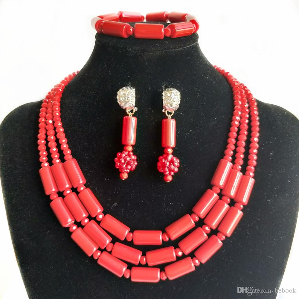 3 Rows Imitation Red Coral Nigerian Wedding Beads African Jewelry Set Bridal Jewelry Women Party Costume Necklace Earrings Bracelet Jewelry
