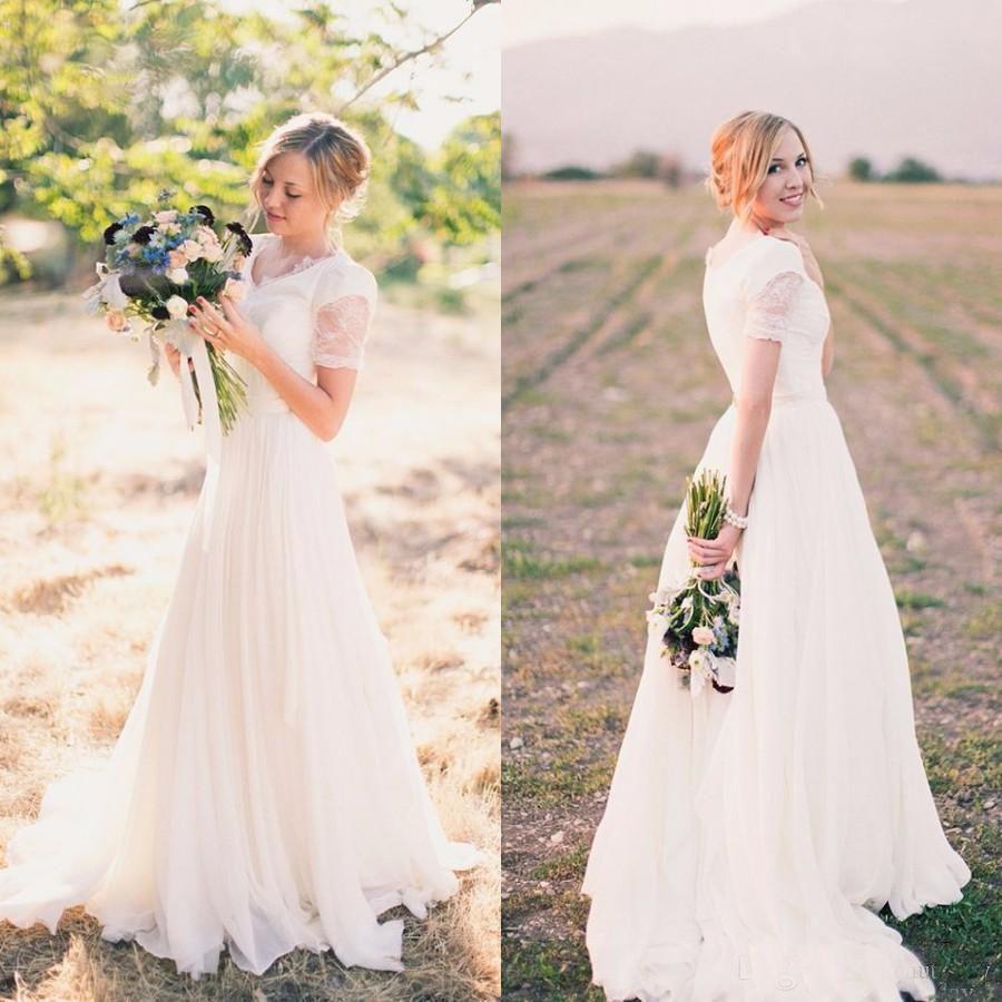 Discount Beach Boho Wedding Dresses Long A Line Short Sleeves White ...