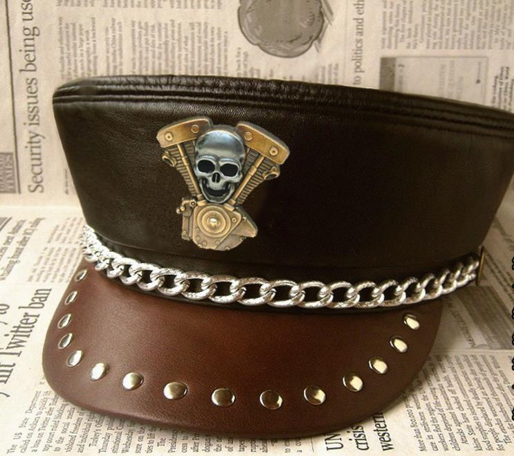 Genuine Leather Hat Military Cap Punk Rock Show Rivet Navy Hat Motorcycle Club Skull Badge Cow Leather Hat Adult Unisex Props