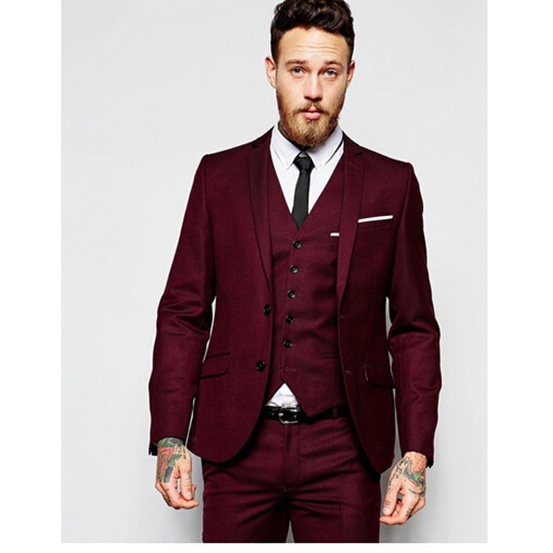 Compre Vino Rojo Dos Botones Mejor Hombre Traje De Boda 3 Piezas Chaqueta +  Pantalón + Chaleco + Corbata Novio Slim Fit Baile Masculino Trajes De Hombre  ... 291c77fd4ab
