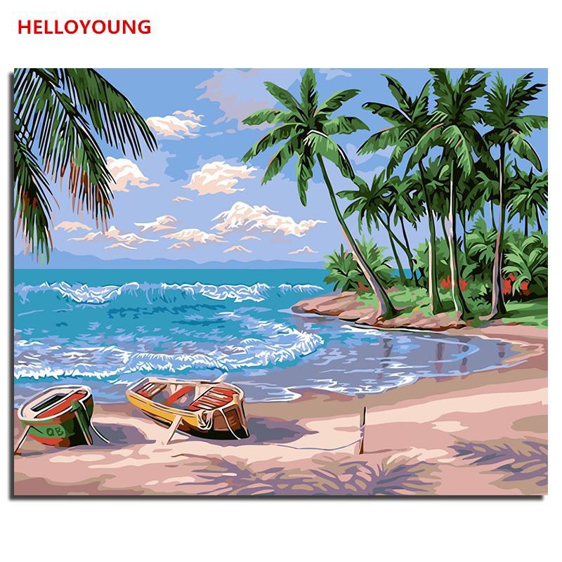 Acheter Helloyoung Peint à La Main Peinture à Lhuile Plage De