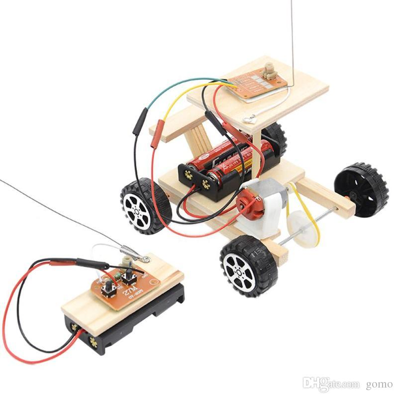 DIY Wireless Remote Control Racing Model Kit Wooden Toys Assembled Car Set Kids Toy Educational Toy