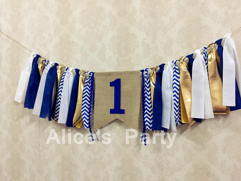 2018 Wholesale New Royal Blue Gold One Birthday High Chair Bunting Boy Room  Hanging Kids 1st Party Banner Baby Shower Garland Smash Cake Decor From  Lienal, ...