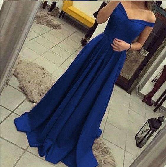 ff5d2ff8846e Simple Royal Blue Long Evening Dresses Off Shoulder Cap Sleeve Sheath Satin  Floor Length Evening Gowns Women Party Dresses Online Custom Evening Dresses  ...