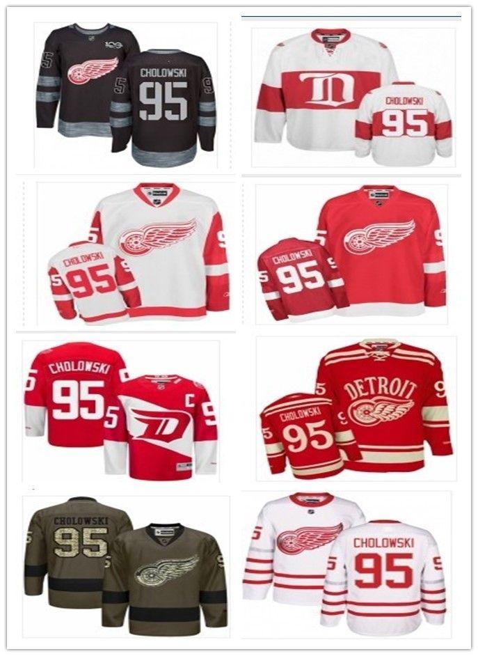 752445a67 2018 Detroit Red Wings Jerseys #95 Dennis Cholowski Jersey men#WOMEN#YOUTH#Men's  Baseball Jersey Majestic Stitched Professional sportswear