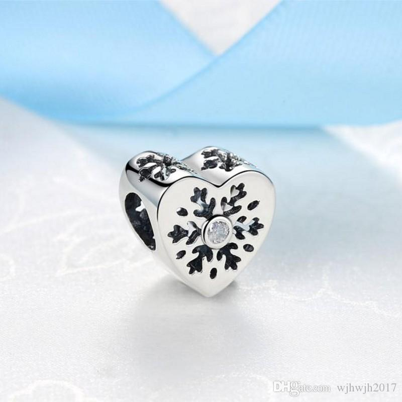 New Original 925 Sterling Silver Women Snowflake Love Hearts Beads For Jewelry Making Fit Charms Bracelet Diy Jewelry Accessories