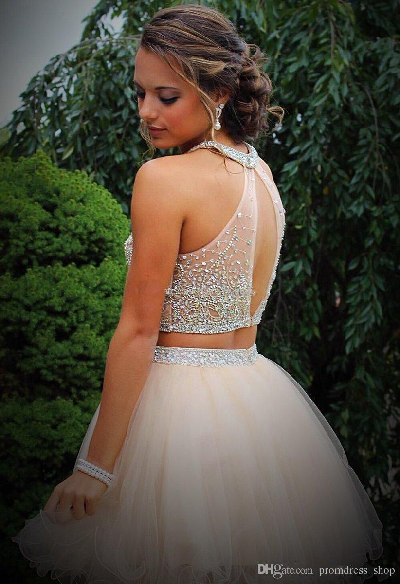 Two Pieces Halter Homecoming Dresses 2019 Beading Crystal Top Tulle Short A Line Party Graduation Prom Gown Cocktail Dress