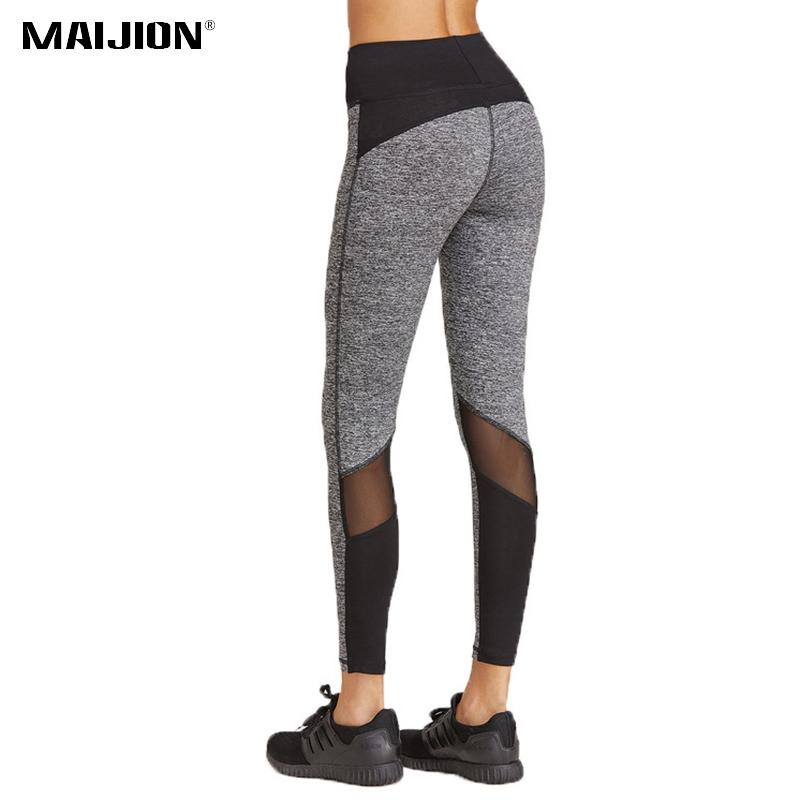 a0fc38e3fa 2019 MAIJION Women Elastic High Waist Running Pants Mesh Patchwork Sport Yoga  Tights Quick Dry Slim Jogging Fitness Leggings Trousers From Mssweet, ...