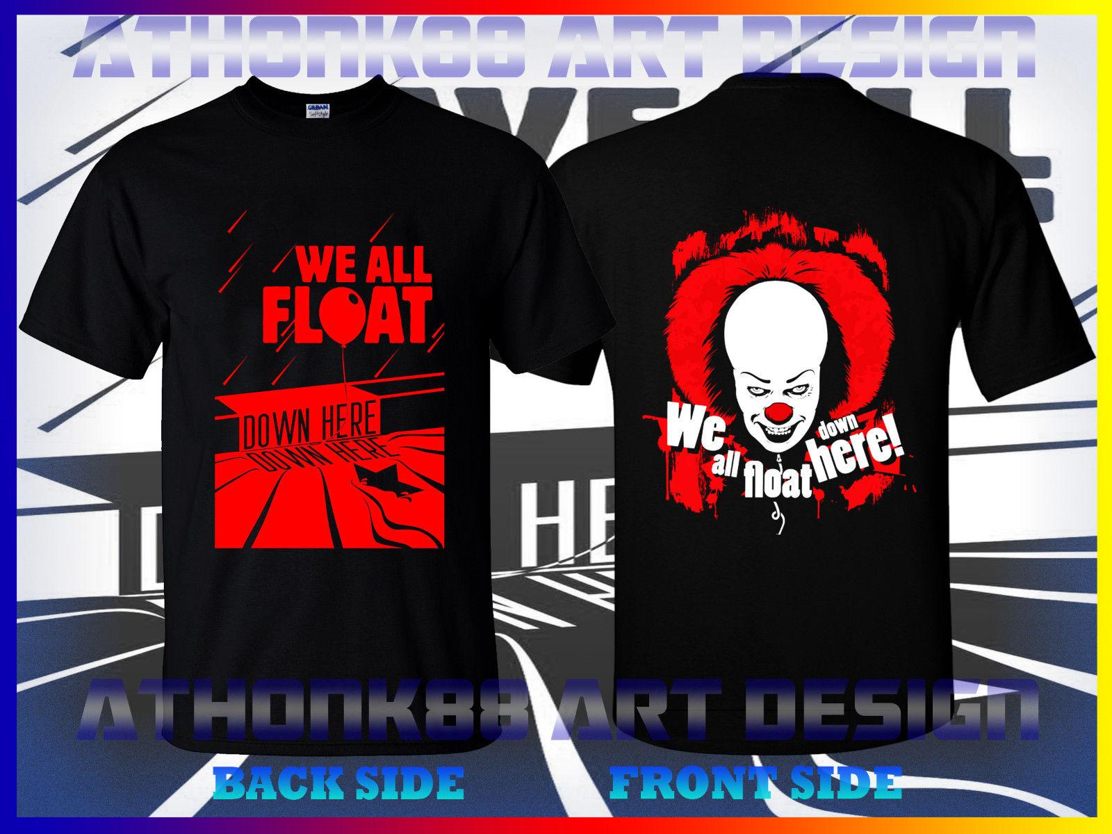 54c58f4a5ebe WE ALL FLOAT DOWN HERE CLOWN PENNYWISE HORROR STEPHEN KINGS T SHIRT Shirts  Designer Designer White T Shirts From Foryouboutique, $11.01| DHgate.Com