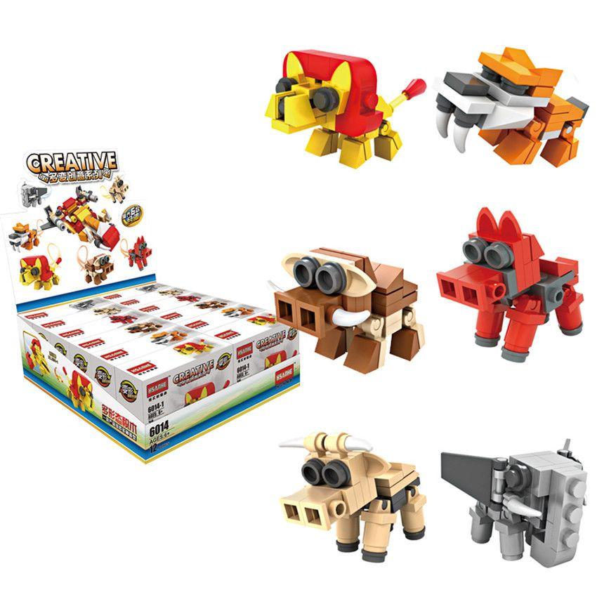 Hsanhe Mini Blocks display box Series cow dog animal and plane 2 changes 6 in 1 Children educational Building Brick #6014