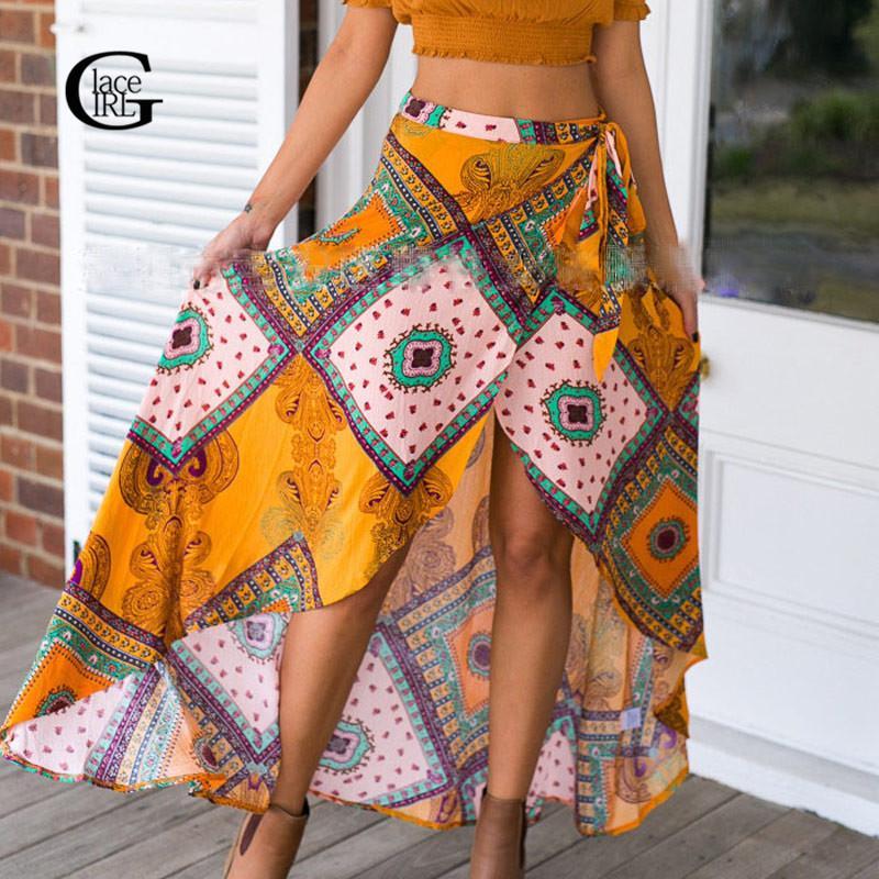 f5d1338a6a3e 2019 Lace Girl 2017 Bohemian Summer Long Skirts Vintage Print Boho Skirt  Beach High Slit Women Swallowtail Irregular Skirts Plus Size From Longmian,  ...