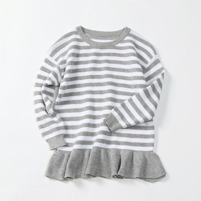 Compre Moda Simple Para Bebés Niñas Suéteres Blanco Gris A Rayas ...