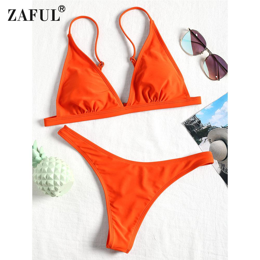 74f4084b9d511 2019 Wholesale Women Bikini Swimwear Padded Bra And Thong Bottoms Natural  Waist Spaghetti Straps Sexy Summer Beach Swimsuit Bikini Set From  Mingmusic002, ...