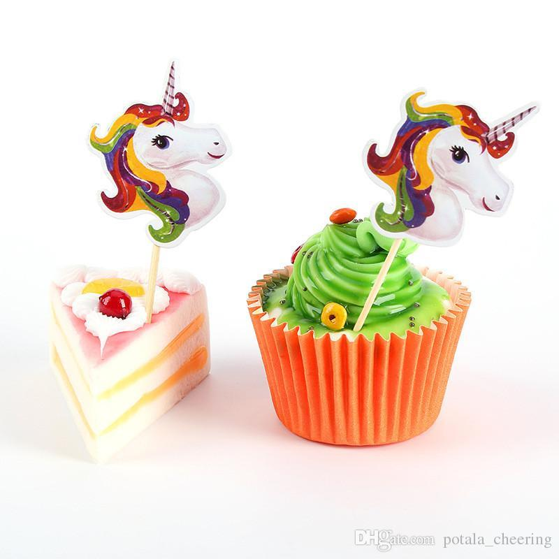 24pcs Unicorn Cakes Cards Toothpicks Cards Happy Birthday Baby Party Decorations Boys and Girls Novelty Toys Children's Exclusive Prop
