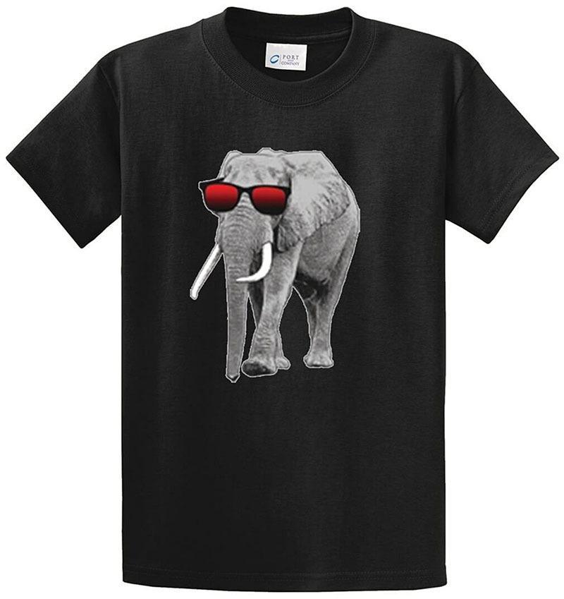 meilleur prix prix de liquidation pourtant pas vulgaire Créez votre propre chemise en ligne Elephant avec lunettes de soleil pour  hommes Imprimé Tee Shirt O-Neck manches courtes Regular Tee Shirt