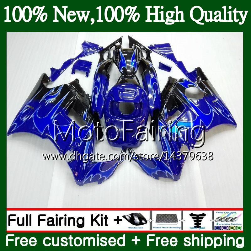Cuerpo para HONDA CBR 600F2 FS Llamas azules CBR600 F2 91 92 93 94 46MF6 CBR600FS 91 CBR 600 F2 CBR600F2 1991 1992 1993 1994 Fairing Bodywork