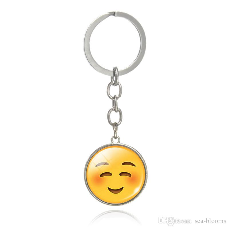 Mode Belle Emoji Smiley Visage Temps Pierres Précieuses Pendentif En Métal Verre Drôle Porte-clés Bijoux Pour Femmes Hommes Cadeau G40L
