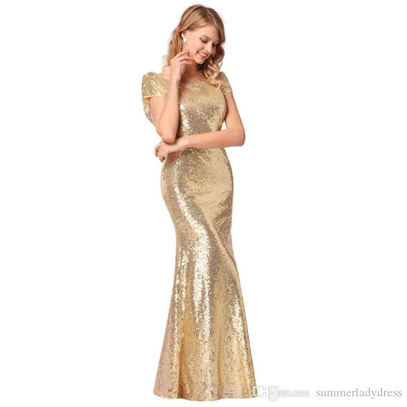 2018 Top Quality Formal Dress For Ladies Fashion Gold Sequins Dress