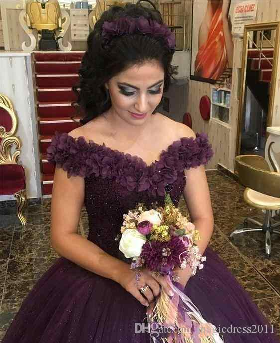 2018 Purple Off the Shoulder Ball Gown Tulle Flowers Evening Dresses Beads Sequins Sweep Train Engagement Dress Pageant Gowns Custom Made