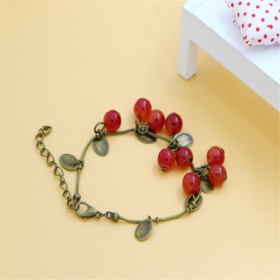Hot new vintage sweet cute red cherry charm bracelets&bangles for women jewelry Retro coin beads bracelet gift mujer pulseras