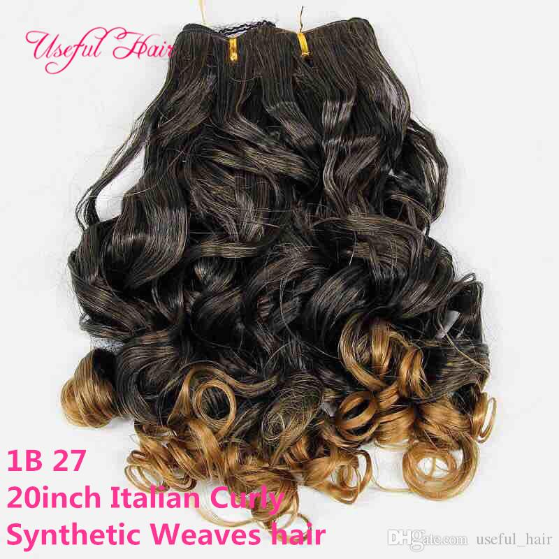 2018 fashion color Italian curly synthetic hair weaves 20inch ombre color hair wefts new ombre brown synthetic braiding hair