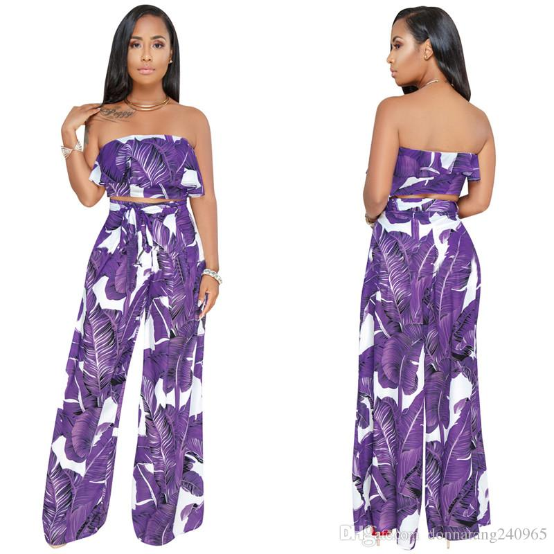 Off Shoulder Sleeveless Sashes Backless Two Pieces Womens Jumpsuit Set Sexy Club Wear Printed Strapless Summer Set Suit