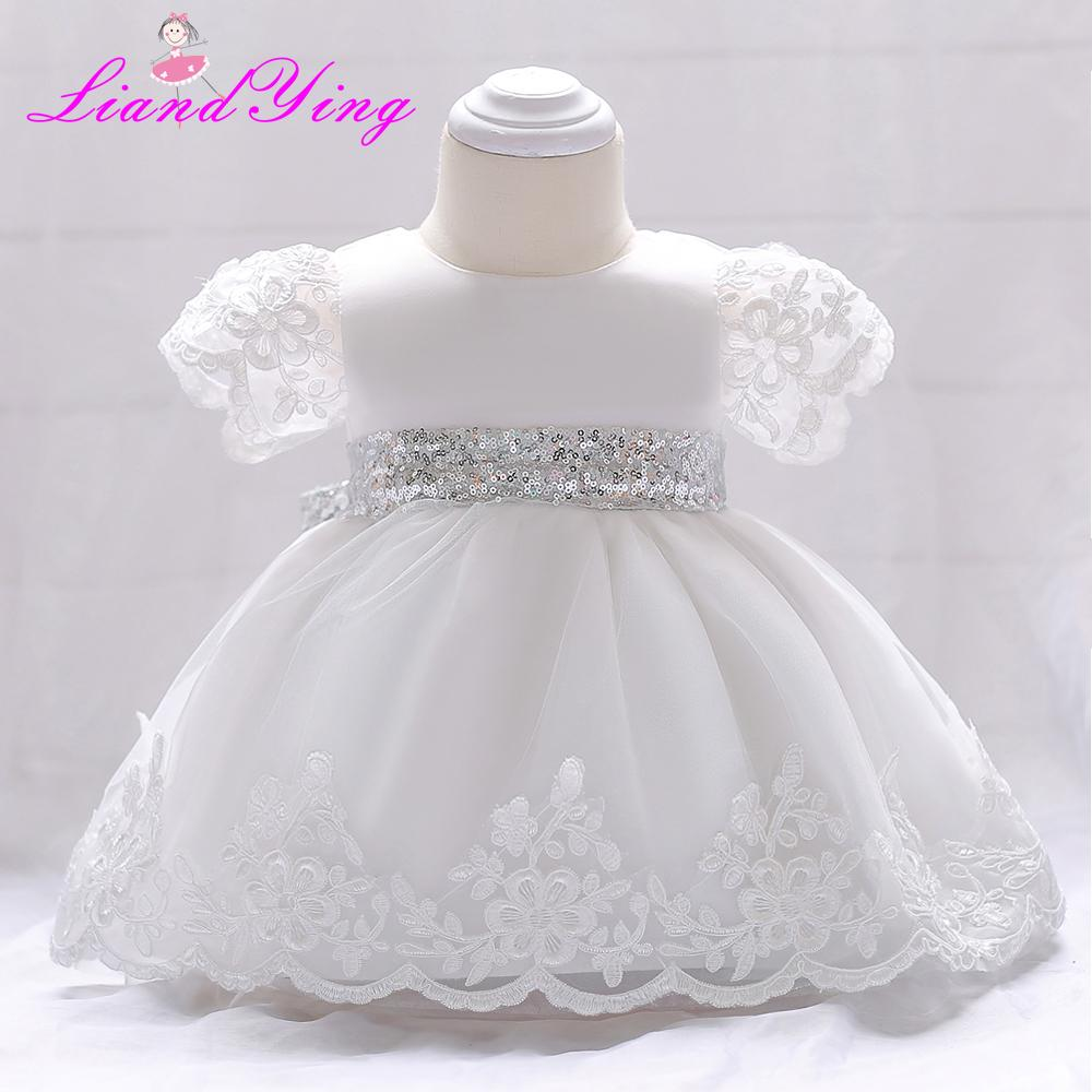 9dfb107450ad 2019 Baby Girl Dress Flower Infant Wedding Dress Princess 1 Year First  Birthday Newborn Party Dresses Baby Christening Gowns Y18102008 From Gou08