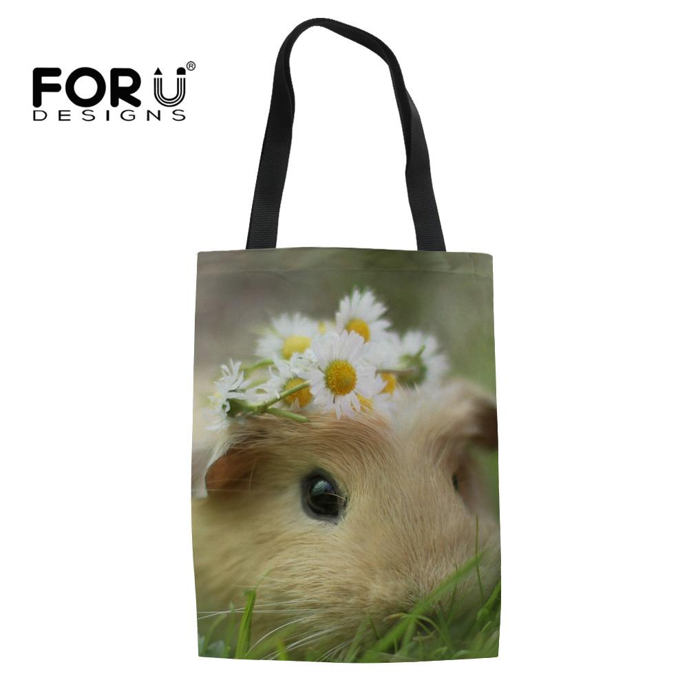 8bbe3f4561 FORUDESIGNS Women Shopping Bag Foldable Hamster Printing School ...