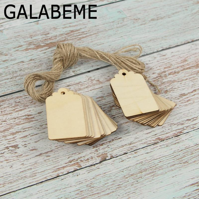 2019 Wholesale Wooden Tag With Hole Rope Scrapbooking Hobby Diy
