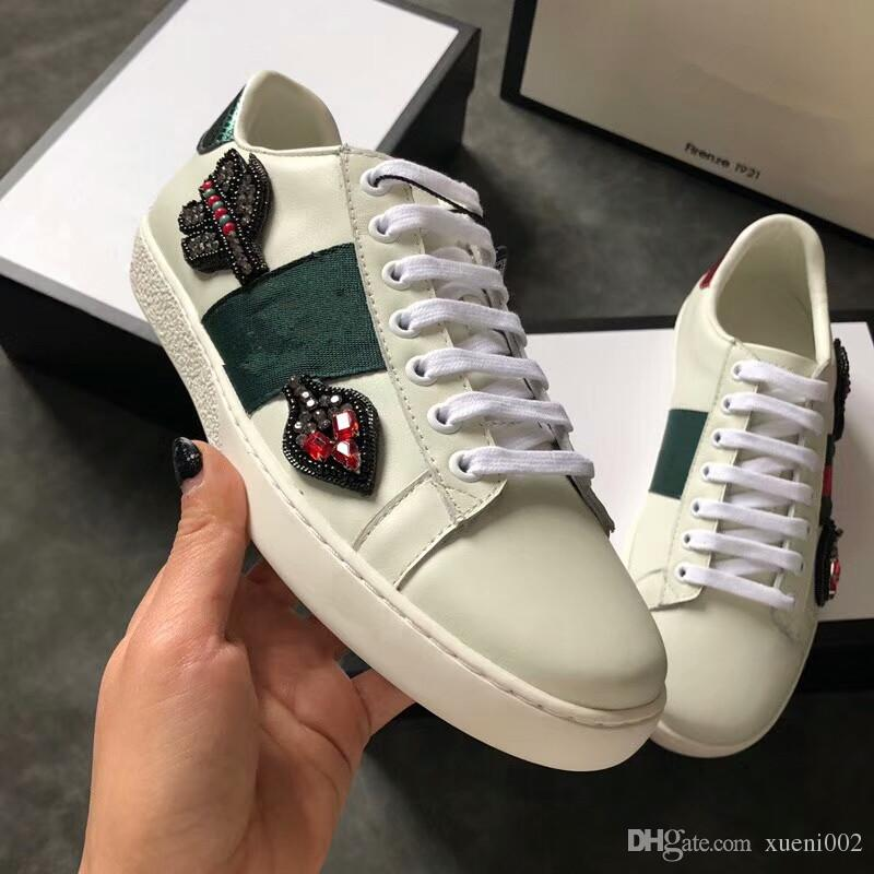 ae2244cf4fe 2018 Summer New Ribbons Bee Embroidered Leather with Mesh Shoes ...