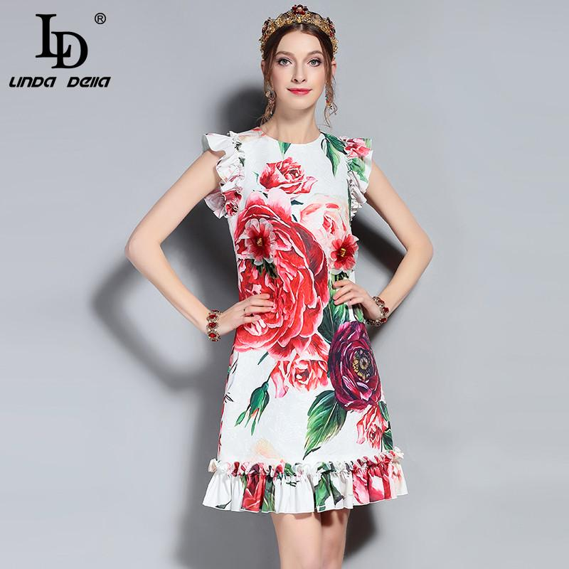 eead35d01078f LD LINDA DELLA New 2018 Fashion Runway Summer Dress Women's Sleeveless Vest  Ruffles Peony Floral Printed Appliques Elegant Dress