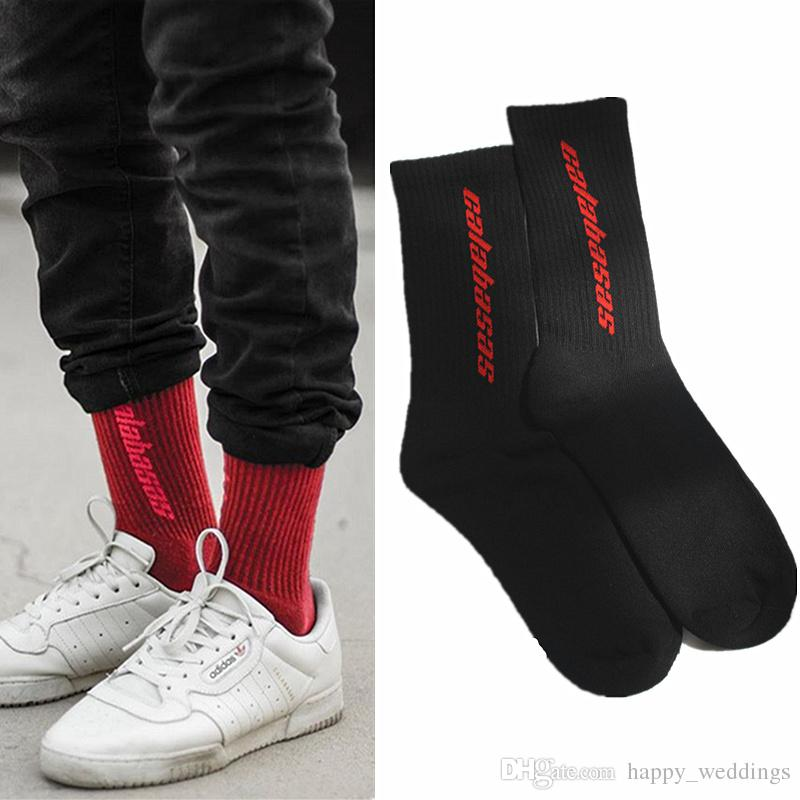 2018 Men Women Calabasas Kanye West Fashion Cotton Socks Justin Bieber Hip Hop Harajuku Thick Letter Skateboard