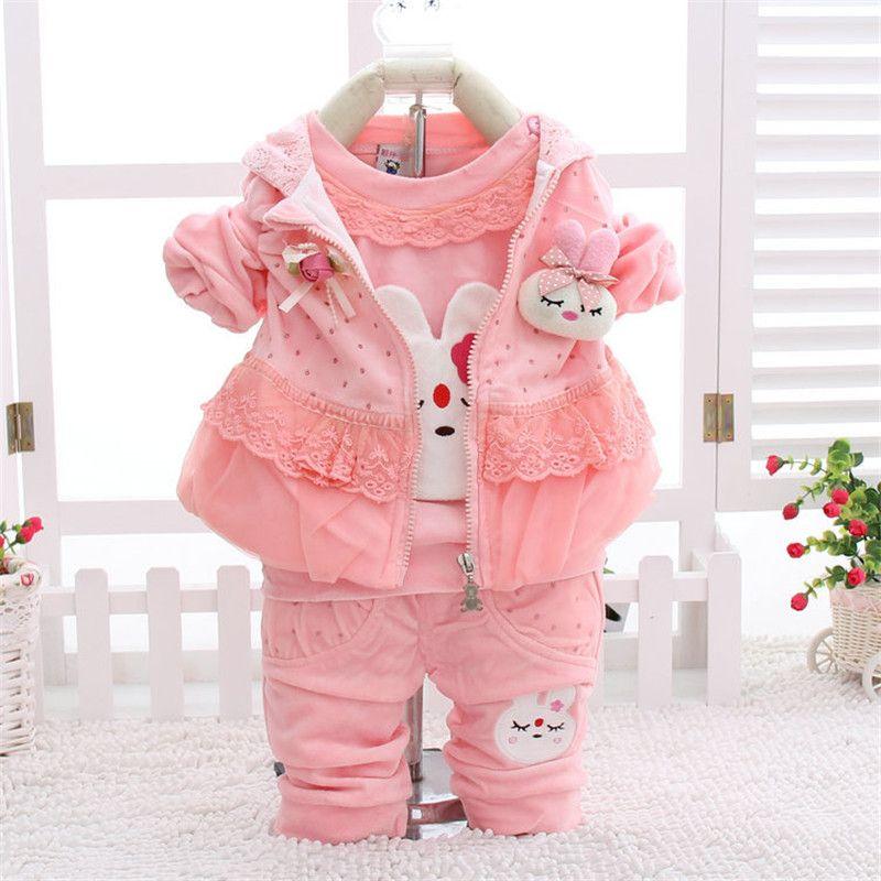 e22f5785e Kids Fashion Set 2018 New Design Autumn Baby Girls Clothing Set Cute Rabbit  Lace Kids Long Sleeve T shirt + Pant + Hooded Vest
