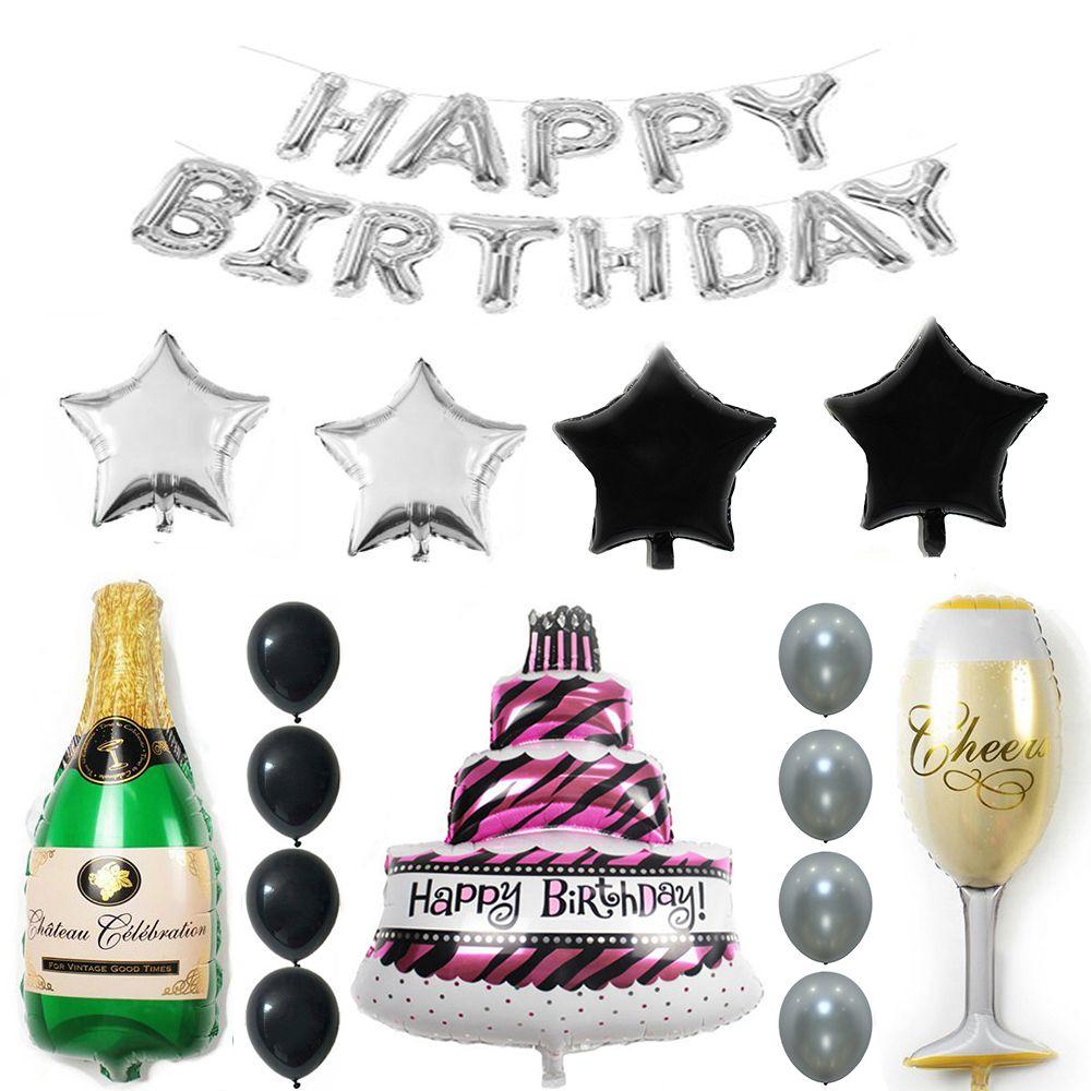 28pcs Lot Ton Argent Joyeux Anniversaire Gâteau Champagne Coupe Bouteille Feuille Balloon Fête D Anniversaire Pack Noir Argent Latex Ballon