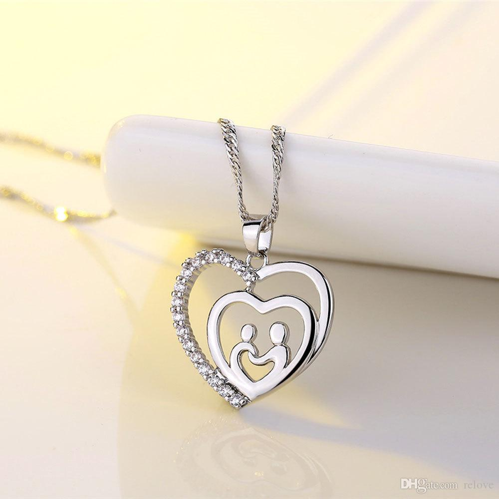 New Arrival Mother And Child Pendant Gift For Mom Two Heart Love Pendant Necklace Mom Family Jewelry Mother Day Gift