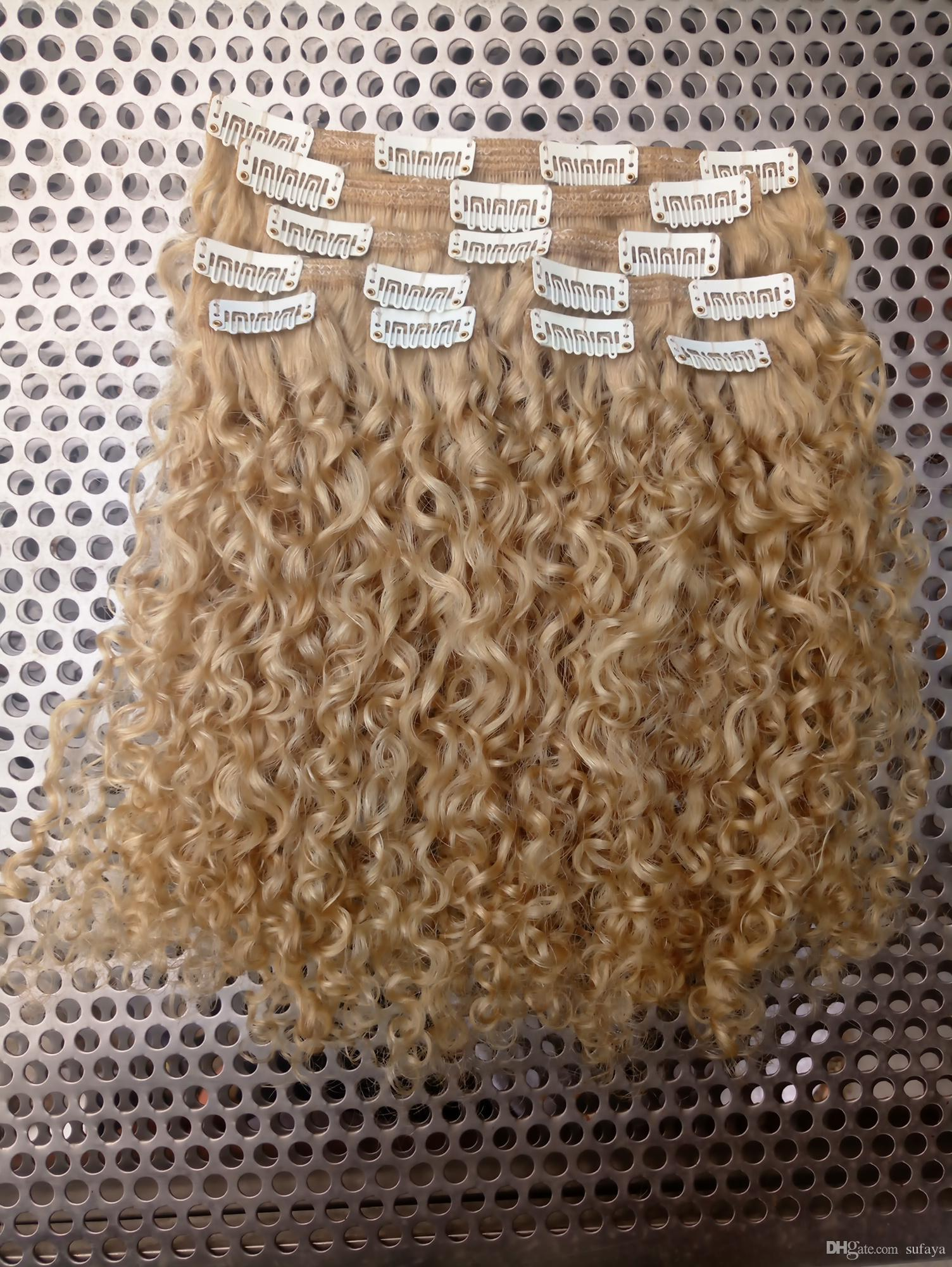New Style Strong Chinese Virgin Remy Curly Hair Weft Human Top Clip Ins Hair Extensions blonde 6130# Color 100g Hair one Set