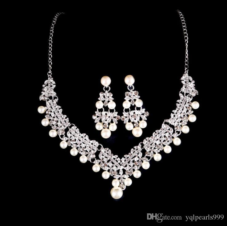 Bride's Pearl water drill Necklace Earring suit bride's wedding accessories