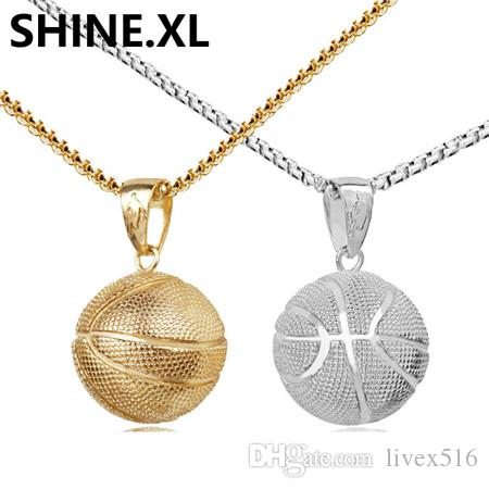 Basketball Pendant Necklace Gold Stainless Steel Chain Necklace