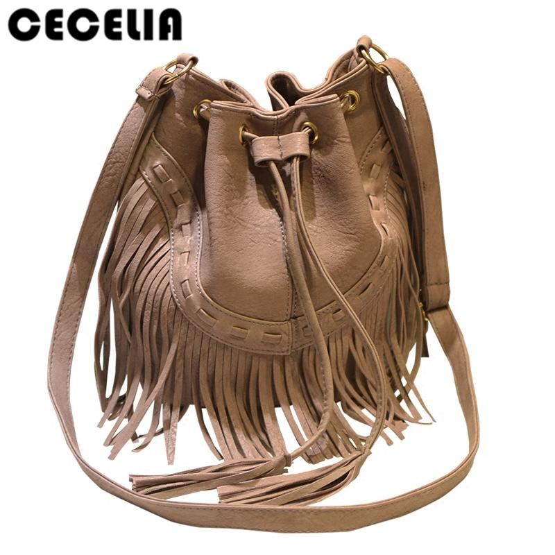 Cecelia Leather Fringe Shoulder Bag Fringe Tassel Music Festival Boho Chic  Indian Hippie Gypsy Tribal Bohemian Ibiza Bucket Bag Shoulder Bags Leather  Bags ... 1c5f289808ac2