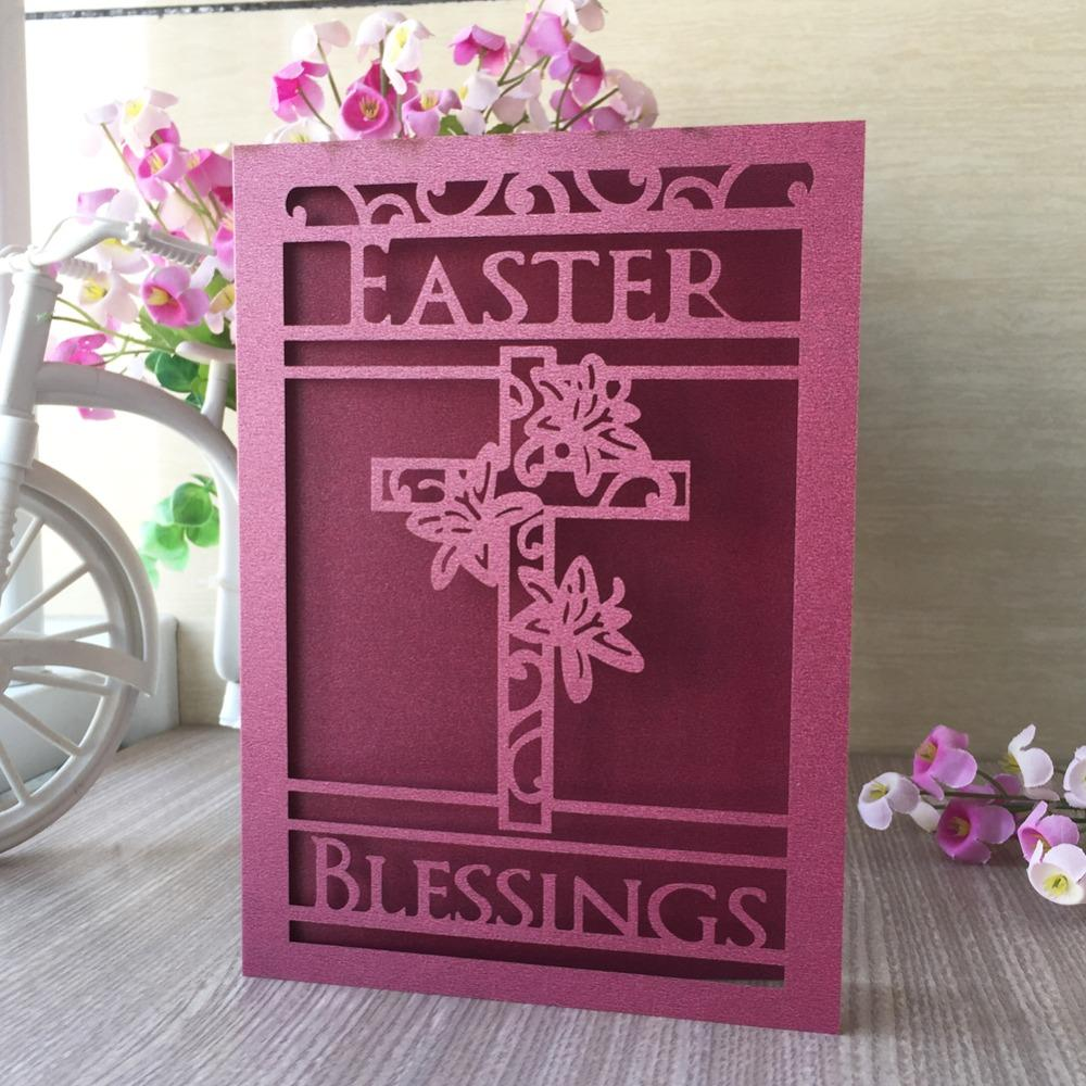 New Arrival Laser Cut Cross Pattern Invitations Card Easter Celebration Blessing Card Best Wishes Card Party Favor Free Musical Birthday Cards Free Online ...