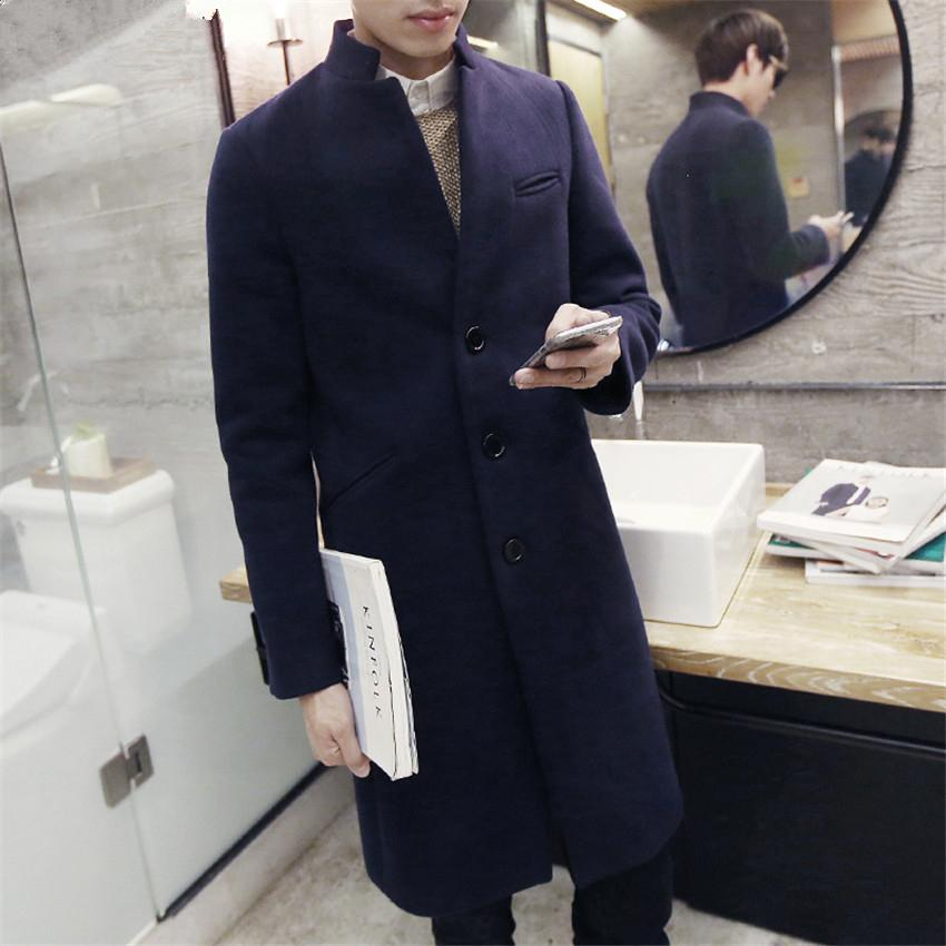 2018 Mens Long Coat Fashion Boutique Wool Solid Color Collar Collar Wool Dust Jackets / Men Quality Casual Windbreaker Hot S-2XL