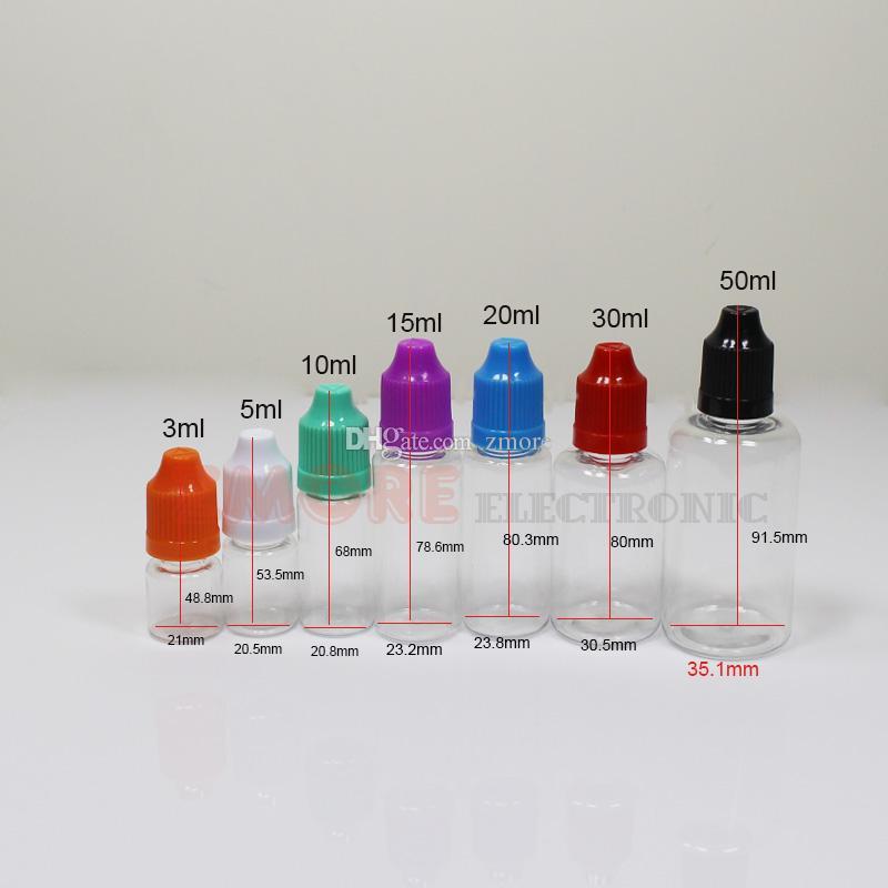 PET Şeffaf e çiğ E Sıvı Şişeler 10 ml 15 ml 20 ml 30 ml 50 ml unicorn Boş Şişeler Plastik Damlalık Şişe E-sigara Için Uzun Ince İpuçları